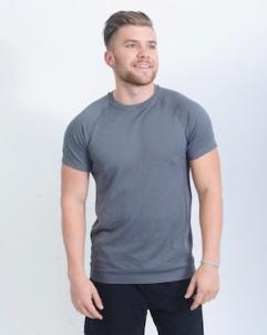 mens grey active shirt front