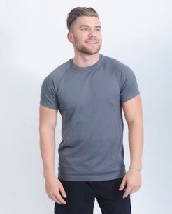 mens grey active shirt front